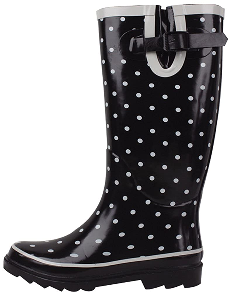 Black Dotted Cambridge Select Women's Waterproof Pattern Print Knee High Welly Rain Boot