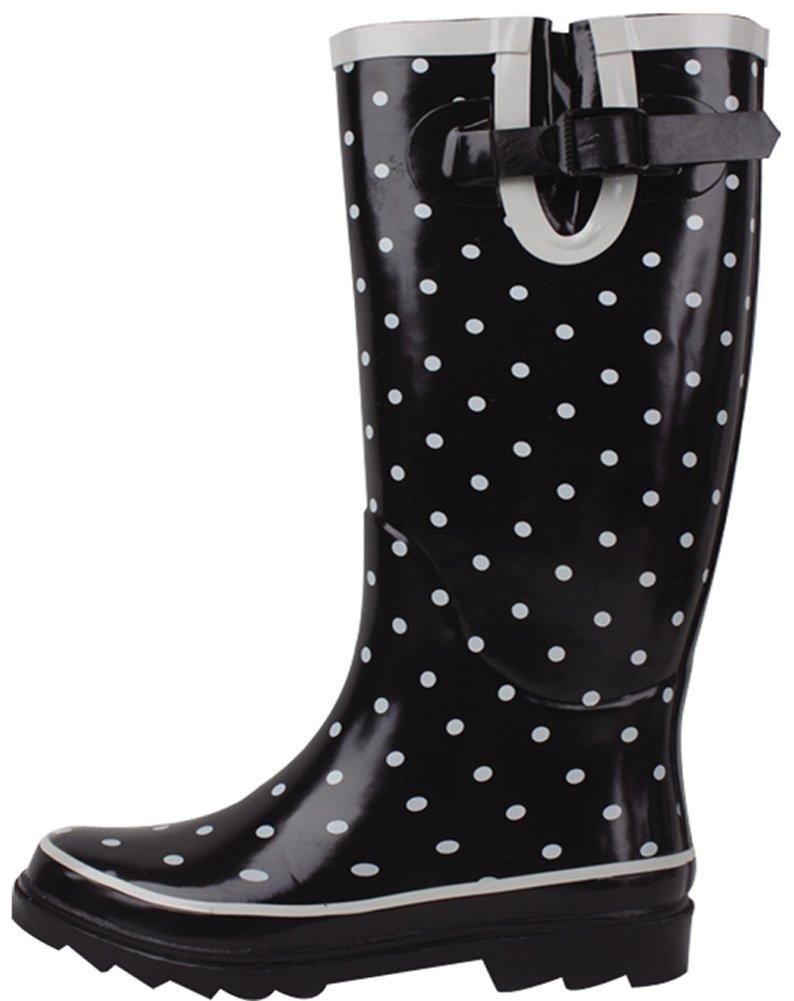 Cambridge Select Women's Waterproof Pattern Print Knee High Welly Rain Boot (8 B(M) US, Black Dotted)
