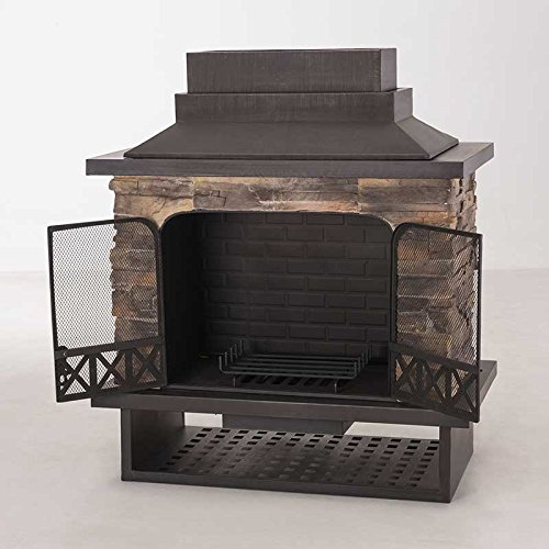 Amazon sunjoy l of079pst 1 farmington steel and faux stack amazon sunjoy l of079pst 1 farmington steel and faux stack stone outdoor fireplace 42 inch x 24 inch x 40 inch garden outdoor teraionfo
