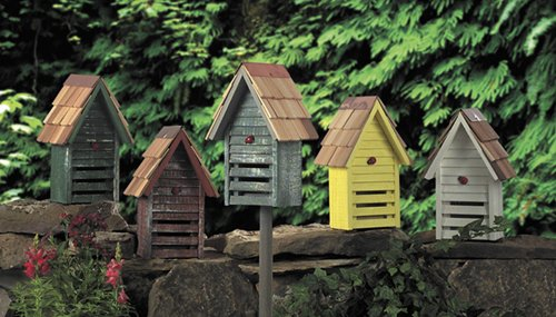 Yellow Weathered Finish Ladybug House With Garden Stake – Made in the USA
