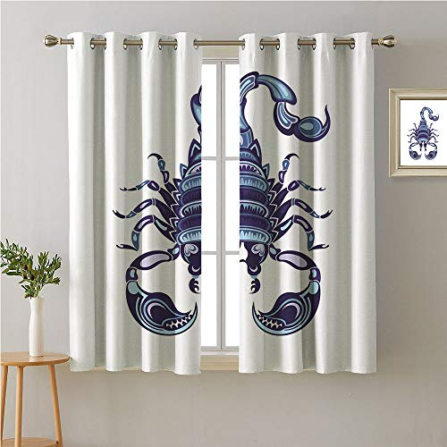 (Jinguizi Scorpio Grommet Room/Bedroom,Animal Design with Insect Motif Style Illustration Pattern,Woven Darkening Curtains,63W x 72L)