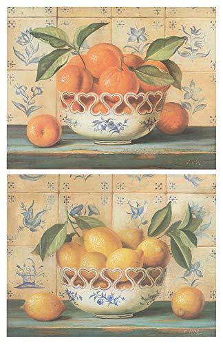 Cuadro de Cocina de Madera Limones Naranjas/Placas de Madera. Set de 2 Cuadros de 19 cm x 25 cm x 4 mm unid. Adhesivo…