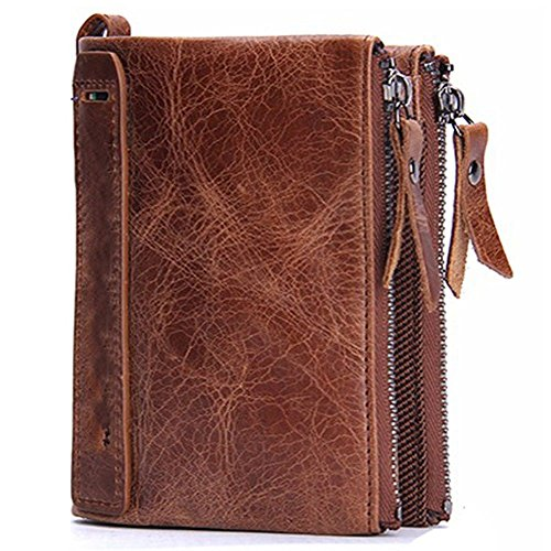style vertical Wallet LIGYM lovers double men's brown wallet fashion Leather zipper qRSw7TgZ