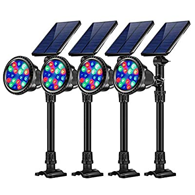 JSOT Outdoor Solar Path Lights, RGB 18 LED Spotlight Waterproof Landscape Lights Solar Security Lamps for Flag Tree Garage Deck Garden Wall Backyard