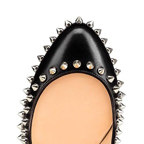 Arc-en-Ciel los zapatos de las mujeres de las bombas de tacón alto punta redonda del remache Negro