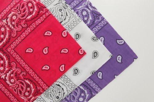 Flissy - Juego de 3 Bandanas de algodón, Color Rosa, Blanco y ...