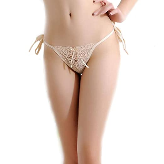 bcac63803 Image Unavailable. Image not available for. Color  milly store Women Lace  Tie Panties Bowknot Ribbons Lace Thongs Panties Adjustable G-String Sexy