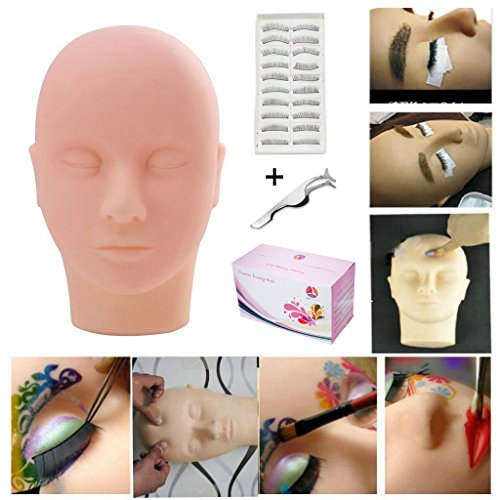 Practice Training Head, MYSWEETY Manikin Cosmetology Mannequin Doll Face Head Eyelashes Makeup Massage Practice with training lashes and Stainless Steel Straight Pointed