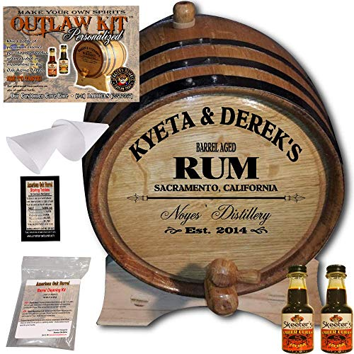 Personalized Rum Making Kit (060) - Create Your Own Amber Cuban Rum - The Outlaw Kit from Skeeter's Reserve Outlaw Gear - MADE BY American Oak Barrel - (Oak, Black Hoops, 2 Liter)
