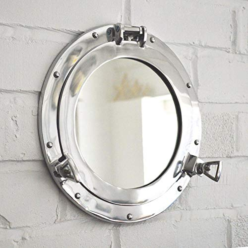 Hind Handicrafts Wall Mounted Vintage Nautical Ship Porthole Mirror for Home Decor | Pirate's Maritime Nautical Themed Decor | Vanity Mirror (20 INCHES, Nickel Chrome)