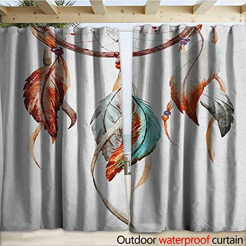 (warmfamily Feather Outdoor Door Curtain Watercolor Dream Catcher Native American Inspirations Traditional W108 x L108 Burnt Sienna Seafoam Grey)