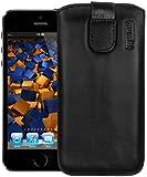 mumbi Cuir véritable Etui iPhone SE 5 5S 5C languette rétractable fermeture velcro noir