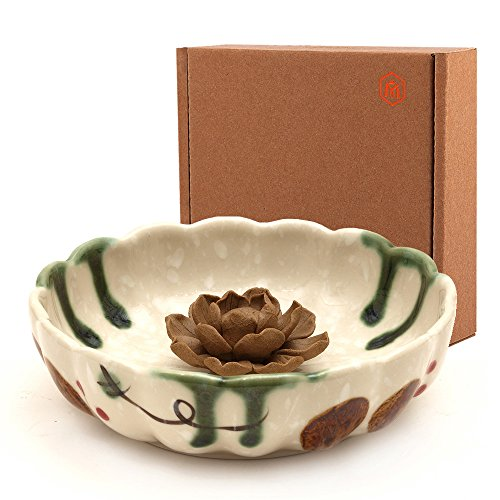 Medoosky Tang Dynasty Style 4.9-Inch Handmade Ceramic Lotus Incense Holder and Burner, Gray