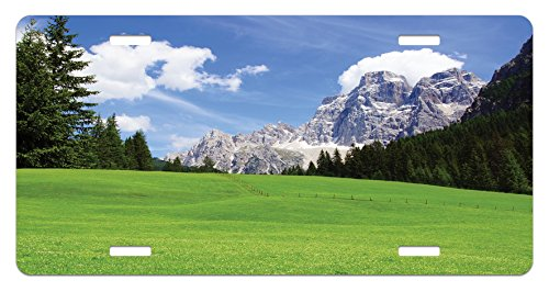 Country Old Print - Nature License Plate by Ambesonne, Picturesque Mountain with Rural Road View of Italian Old Country Modern Print, High Gloss Aluminum Novelty Plate, 5.88 L X 11.88 W Inches, Blue Evergreen