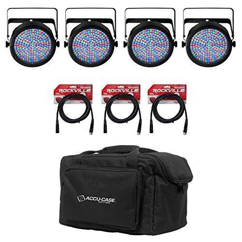 (4) Chauvet SlimPAR 64 SlimPAR64 Compact DMX LED Wash Lights+Case+Cables