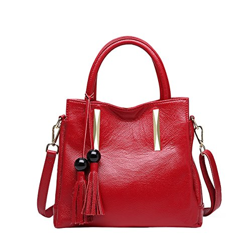 28X10X27CM Wine LxWxH VQ0879 Leather Handbag Shoulder Bag Fashion Casual Women Red DISSA avPEq