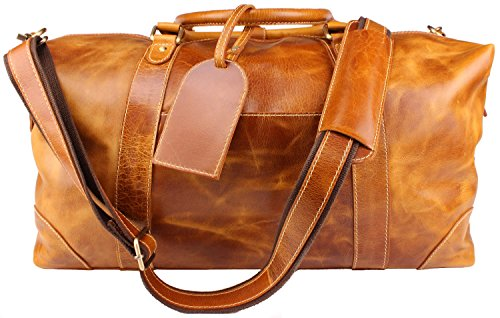 Viosi Vintage Duffel Bag Leather Weekender Luggage Travel Bag plus Toiletry Bag (Tan) (Vintage Leather Luggage)