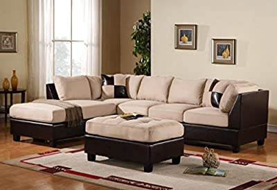 3 Piece Modern Microfiber Faux Leather Sectional Sofa with Ottoman, Color Hazelnut, Beige, Chocolate and Grey