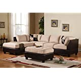 3 Piece Modern Microfiber Faux Leather Sectional Sofa with Ottoman, Color Hazelnut, Beige, Chocolate and Grey (Beige)