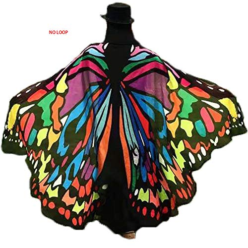 (Party Soft Fabric Butterfly Wings Shawl Fairy Ladies Nymph Pixie Costume Accessory (Colorful Butterfly(77.5