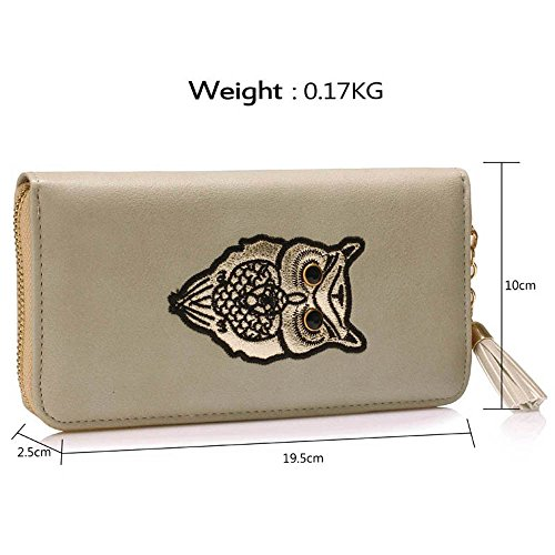 TrendStar - Cartera de mano de piel sintética para mujer A - Grey Owl Design Wallet