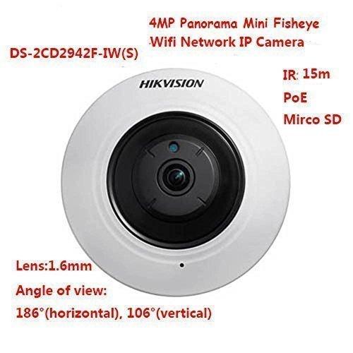 Hikvision DS-2CD2942F-IWS 4MP 2560 × 1440 resolution WIFI IR Panorama Mini Fisheye Network IP Camera PoE SD indoor(International English firmware version)