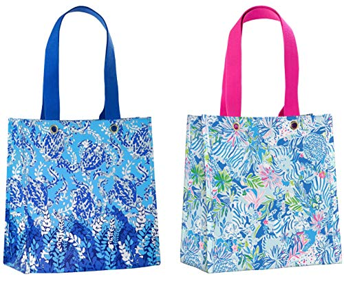 Reusable Shopper Tote - Lilly Pulitzer Reusable Market Shopper Bag Set of 2, Turtley Awesome & Lion Around