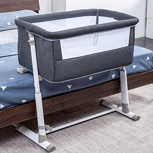51yoM5hvv%2BL - Baby Bassinet,RONBEI Bedside Sleeper,Baby Bed To Bed,Babies Crib Bed, Adjustable Portable Bed For Infant/Baby Boy/Baby Girl/Newborn (Dark Grey)