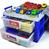 HapiLive Plastic Dustproof Toy Cars Parking Storage with Ttrack Plastic Box Divider Organizer