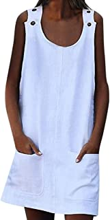 Women's Straight Sleeveless Solid Summer Loose Casual Button Plain Cotton Mini Tank with Pocket Dress