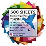 600 Sheets Premium Origami Paper   70GSM   30 Vivid Colors   Double Sided   6-Inch Square Sheets