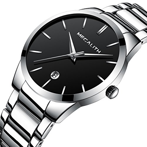 Link Silver Wrist Watch - Mens Stainless Steel Watches Men Luxury Waterproof Date Casual Analog Wrist Watch with Black Dial (Silver)
