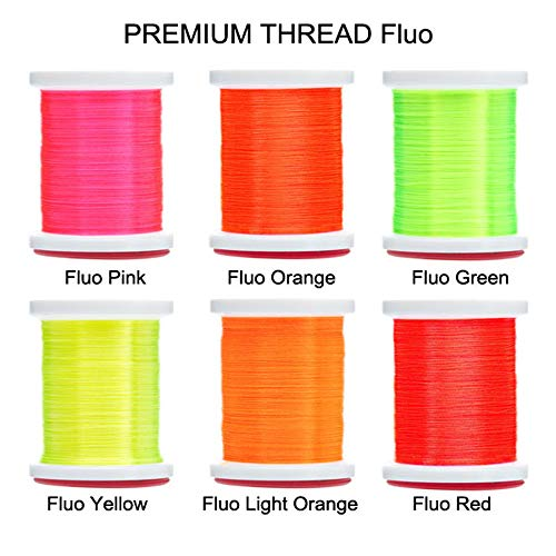 Riverruns Micro Glint Nymph Thread, Holo Flat Tinsel, Fluo Thread Fly Tying Material Proudly from Europe Trigger to The Fish (6 Color/Set Fluo Thread)