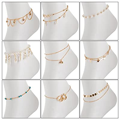 YallFF 9PCS Gold Anklets for Women Adjustable Gold Turquoise Pearl Anklet for Girls Infinite Love Beach Anklet Foot Jewelry Set