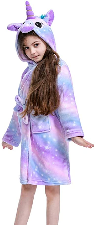 Kids Rainbow Unicorn Hooded Bathrobe Flannel Sleepwear Unicorn Gifts for Girls