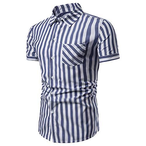 (MmNote Save 15% Skull Mens Modern Feshion Textured Design Classic Cotton Blend Elastic Antibacterial Lapel Summer T-Shirt Blue)