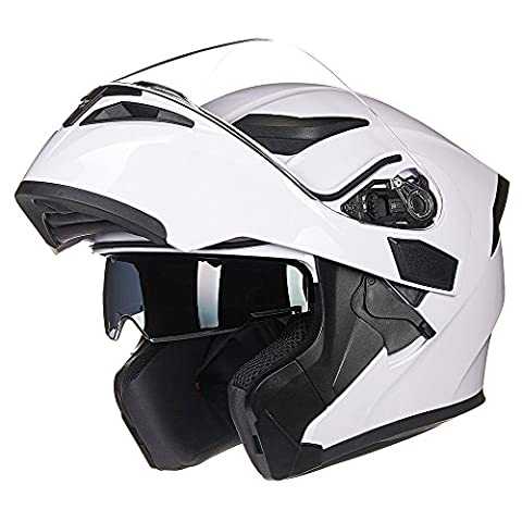 ILM Motorcycle Dual Visor Flip up Modular Full Face Helmet DOT with 6 Colors (L, WHITE) - White Full Face Helmet
