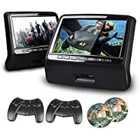 XTRONS® Black Twin 2x9 HD Active Car Pillow Headrest Monitor Portable DVD/USB Player Game HDMI