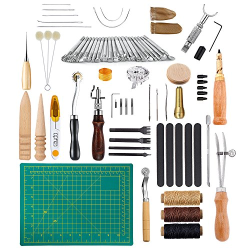 Caydo 69 Pieces Leather Craft Stamping Tools with Matting Cut, Stitching Groover, Prong Punch, Leather Working Saddle Making Stamps Tools for DIY Leather Craft Man