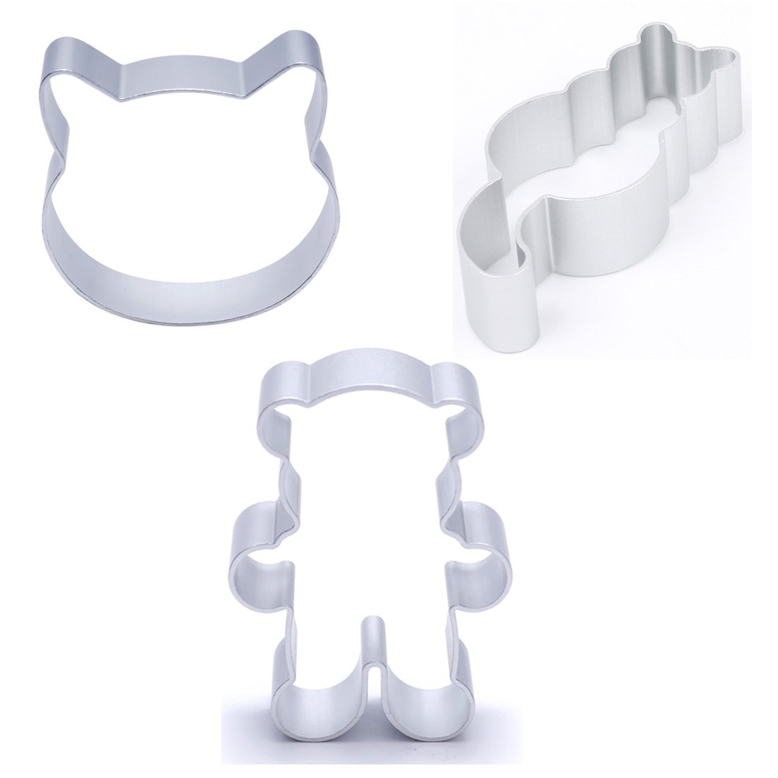 3Pcs Cat Little Bear Shape Fondant Biscuit Aluminium Cookie Cutter Mold Animal Pastry Mould Cake Decoration Baking Tool