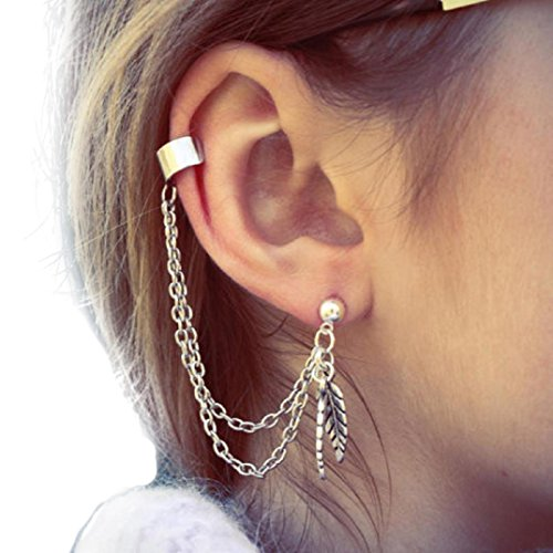 HIRIRI Hot Sale Women Punk Personality Clip Tassel Leaf Charm Metal Ear Clip Stud Earring (Germany Clip Earrings)