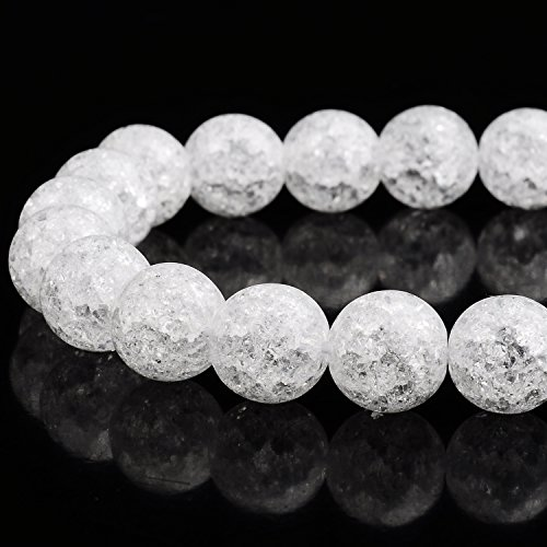 RUBYCA Natural AAA Grade White Clear Quartz Crystal Crackle Round Beads Jewelry Making 1 strand (Crackle Crystal Glass Jewelry)
