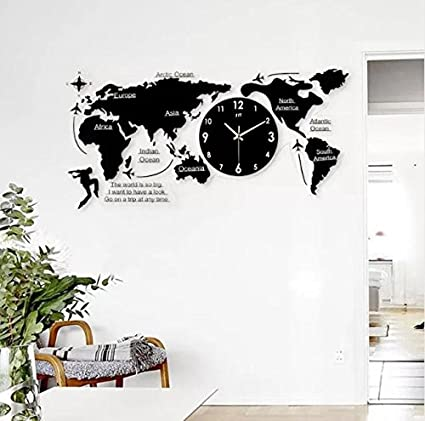 Amazon.: 3D Big World Map Wall Clock Modern Design Decorative