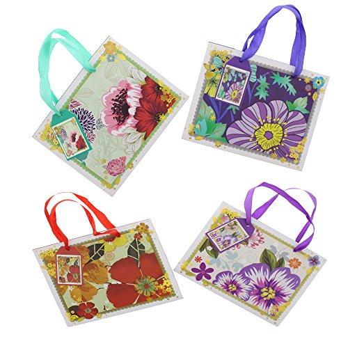 Vintage Floral Paper Gift Bag Medium Size Assorted Colors for (Floral Medium Gift Bag)