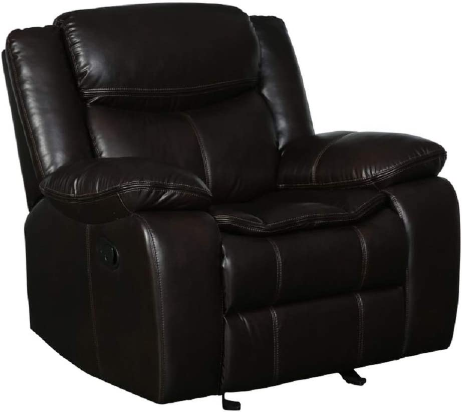 Blackjack Furniture Marsden Collection Modern Leather Air Living Room Reclining, Chair, Brown