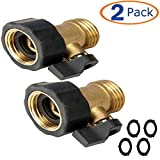 Heavy Duty Brass Shut Off Valve, Garden Hose Connector,Watering Spigot Connector, Garden Water Hose Shut off Valve(2 PACK)