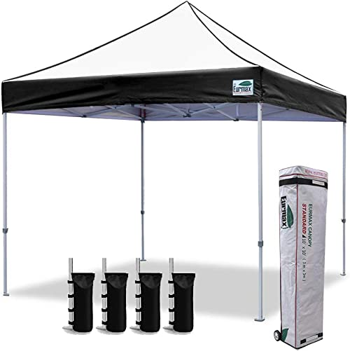 Eurmax 10×10 Ez Pop Up Canopy Tent Commercial Instant Canopies with Heavy Duty Roller Bag,Bonus 4 Weight Sandbags Edge Black
