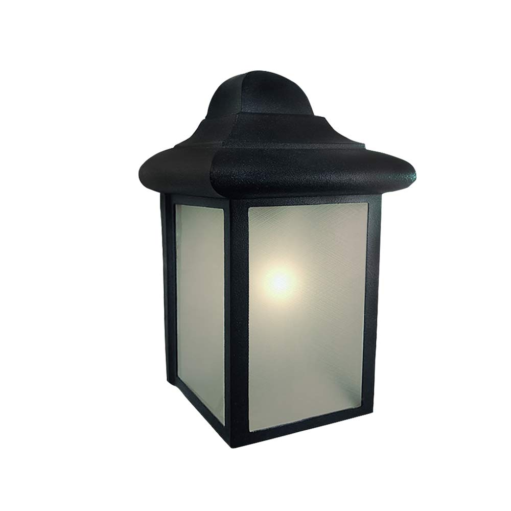 Outdoor Wall Lantern Porch Light E26 40W Bulb Included Frosted Glass Shade Open Bottom Matte Black Outdoor Wall Lights Fixture