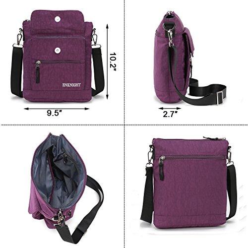 Enknight Women Purple Bag Purse Handbags Travel Shoulder For Nylon Crossbody AqXxrA