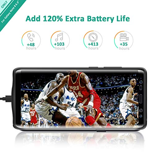 Galaxy Note 8 Battery Case, Stoon 5500mAh Portable Charger Case Rechargeable Extended Battery Pack Protective Backup Charging Case Cover for Samsung Galaxy Note 8(6.3Inch) (Black) by Stoon (Image #3)